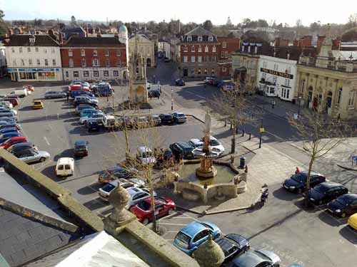 Roof top view of Devizes Market Place